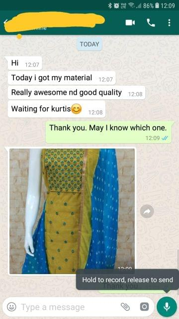 Today i got my material... Really awesome, And good quality... Waiting for Kurtis.  -Reviewed on 06-Mar-2019