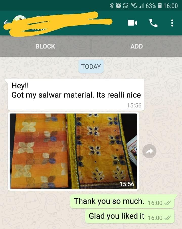 Got my salwar material... It's really nice. -Reviewed on 06-Mar-2019