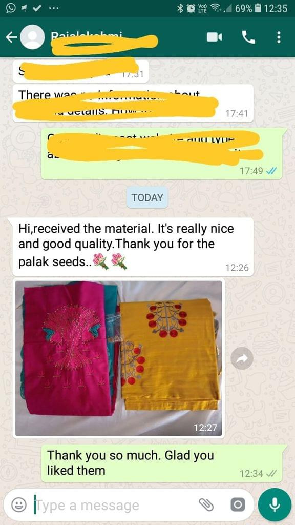 Received the material... It's really nice... And good quality... Thank you for the palak seeds.  -Reviewed on 14-Mar-2019