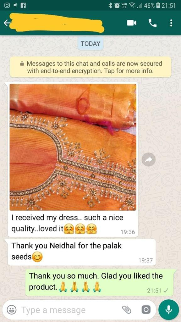 I received my dress... Such a nice quality... Loved it... Thank you Neidhal for the palak seeds. -Reviewed on 18-Mar-2019