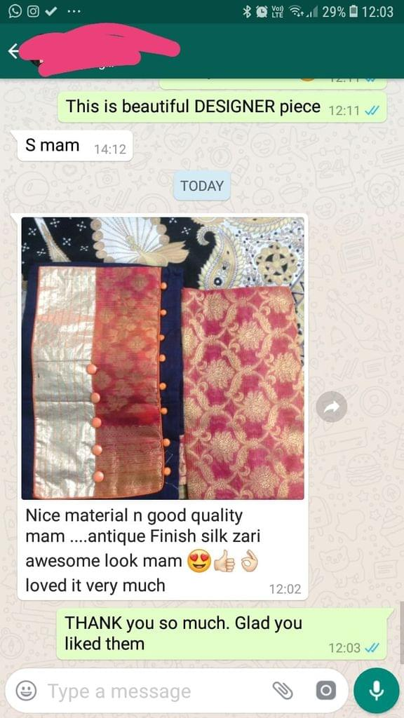 Nice material... And good quality...Antique finish silk zari awesome look... And good or nice... Loved it very so mush.  -Reviewed on 25-Mar-2019