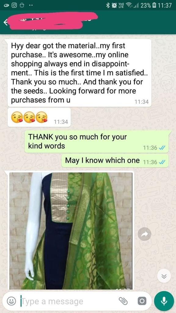 Got the material... My fist purchase... It's awesome... My online shopping always end in disappoint mint... This is the first time i'am satisfied... Thank you so much... And thank you for the seeds... Looking forward for more purchases from you. -Reviewed on 26-Mar-2019