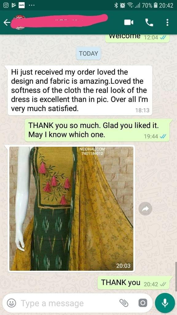 Just received my order loved the design and fabric is amazing... Loved the softness of the cloth the real look of the dress is excellent than in picture... Over all i'am very much satisfied.  -Reviewed on 27-Mar-2019