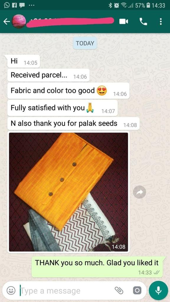 Received parcel... Fabric and color too good... Fully satisfied with you thanks.... On also thank you for palak seeds. -Reviewed on 28-Mar-2019