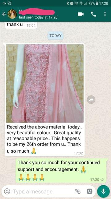 Received the above material today... Very beautiful colour... Great quality at reasonable picture... This happens to be my 26th order from you... Thank you so much. -Reviewed on 01-April-2019