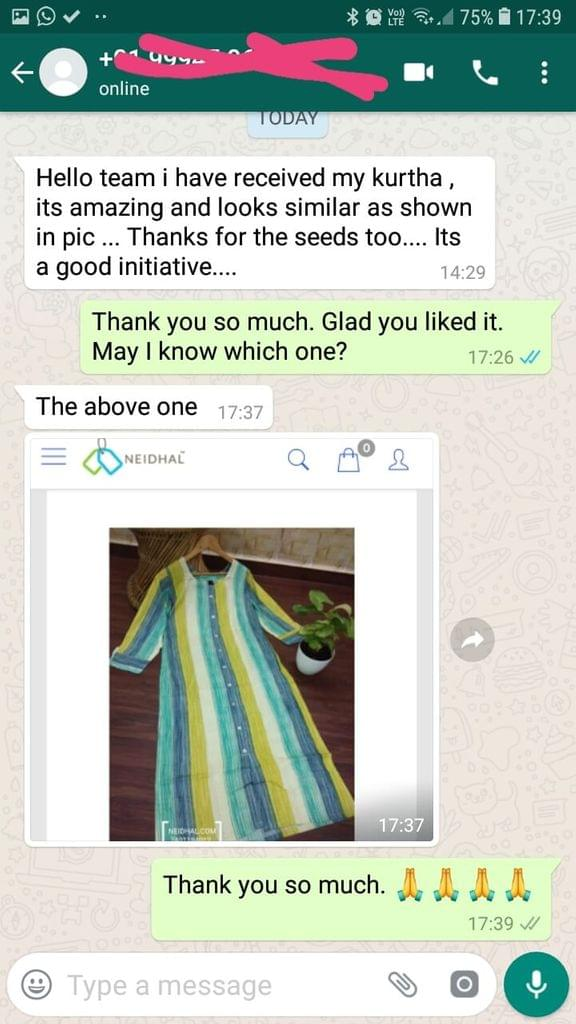 I have received my kurtha, It's amazing and looks similar as shown in picture... Thanks for the seeds too... Is a good initiative... The above one. -Reviewed on 01-April-2019