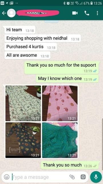 Enjoying shopping with Neidhal... Purchased 4 Kurtis... All are awesome. -Reviewed on 17-April-2019