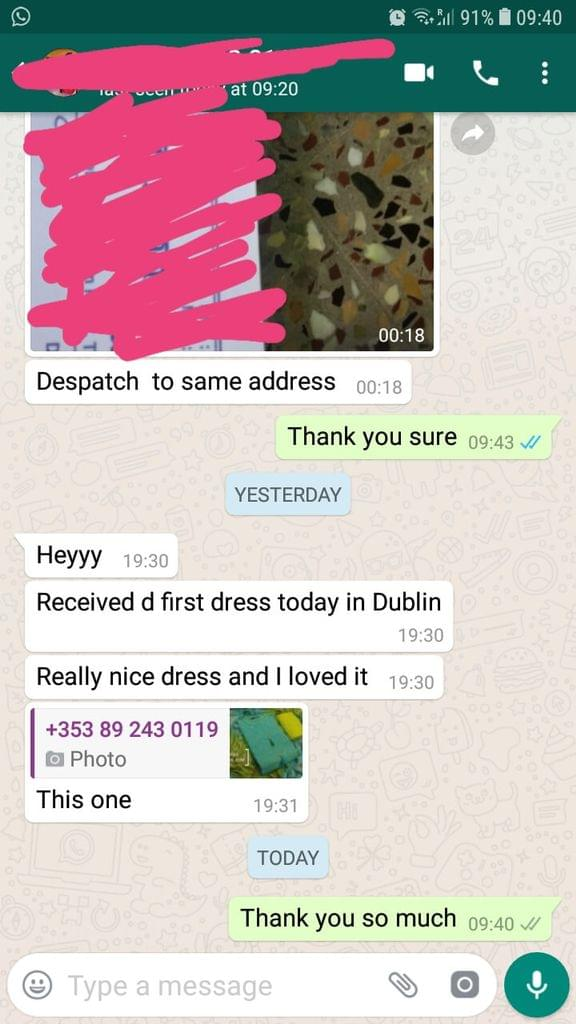 Received the first dress... Today in Dublin... Really nice dress... And loved it this one.  -Reviewed on 19-April-2019