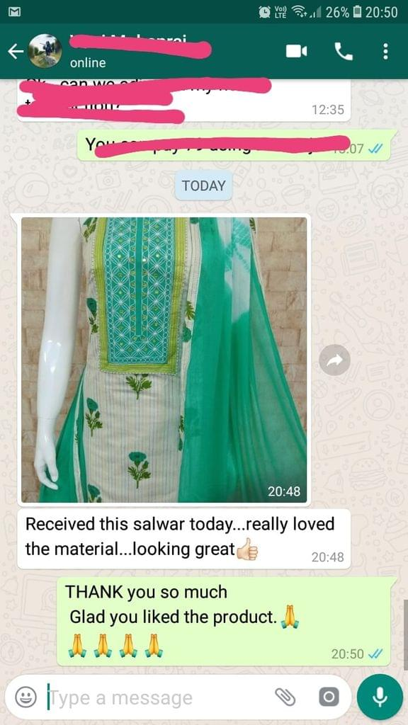 Received this salwar today... Really loved the material... Looking great good. -Reviewed on 29-April-2019