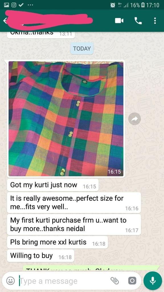 I got my kurti just now... It is really awesome... perfect size for me... Fits very will... My fist kurti purchase from you... Want to but more... Thanks Neidhal... Places bring more XXL Kurtis... Willing to buy.  -Reviewed on 04-May-2019