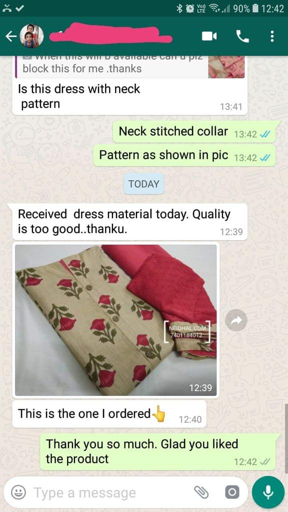 Received dress material today... Quality is too good... Thank you. -Reviewed on 13-May-2019