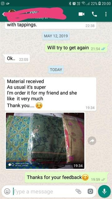 Material received... As usual it's super... I'am order it for my friend... And she like it very much... Thank you. -Reviewed on 14-May-2019