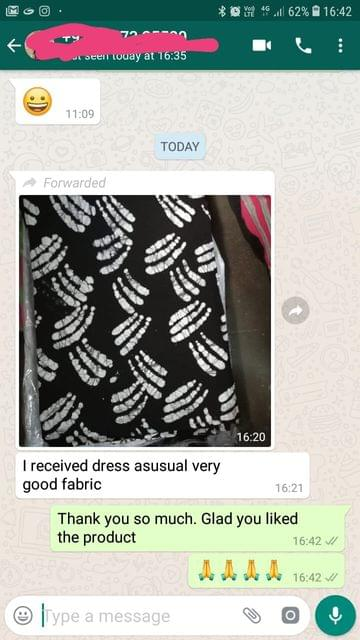 I received dress... Asusual very good fabric. -Reviewed on 17-May-2019