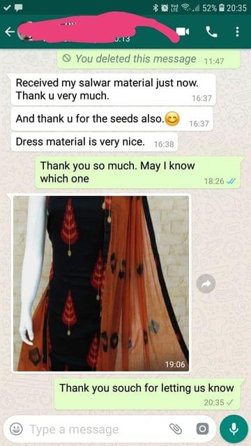 Received my salwar material just now... Thank you very much... And thank you for the seeds also... Dress material is very nice. -Reviewed on 20-May-2019