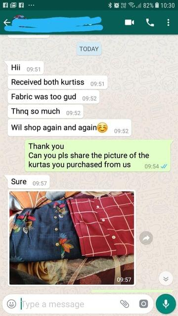 Received both Kurtis... Fabric was too good... Thank you so much... Will shop again and again...  -Reviewed on 23-May-2019