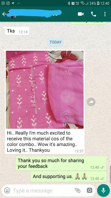 Really i'am so much excited to receive this material cos of the color combo... Wow it's amazing... Loving it... Thank you. -Reviewed on 27-May-2019