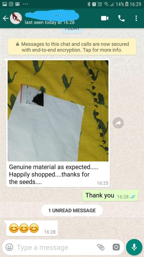 Genuine material as expected... Happily shopped... Thanks for the seeds. -Reviewed on 27-May-2019