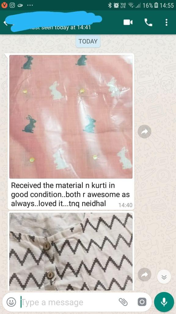 Received the material... And kurti in good condition... Both are awesome as always... loved it... Thank you Neidhal. -Reviewed on 01-Jun-2019