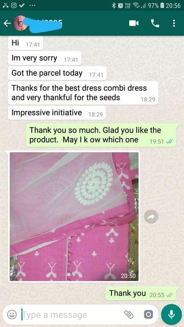 I got the parcel today... Thanks for the best dress combi dress and very thankful for the seeds... Impressive initiative. -Reviewed on 08-Jun-2019