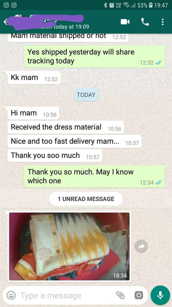 Received the dress material... Nice and too fast delivery... Thank you soo much. -Reviewed on 12-Jun-2019