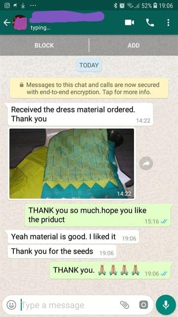 Received the dress material ordered... Thank you... Yeah material is good... I liked it... Thank you for the seeds. -Reviewed on 17-Jun-2019