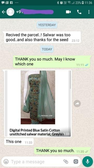 Received the parcel... Salwar was too good... And also thanks for the seeds.  -Reviewed on 03-Jul-2019