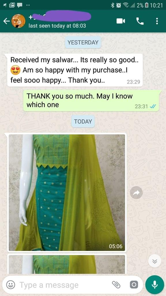 Received my salwar... It's really so good... Am so happy with my purchase... I feel so happy... Thank you. -Reviewed on 04-Jul-2019