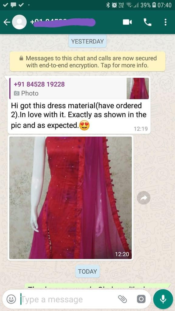 I got this dress material... (Have ordered 2)... In love with it... Exactly as shown in the picture... And as expected. -Reviewed on 09-Jul-2019