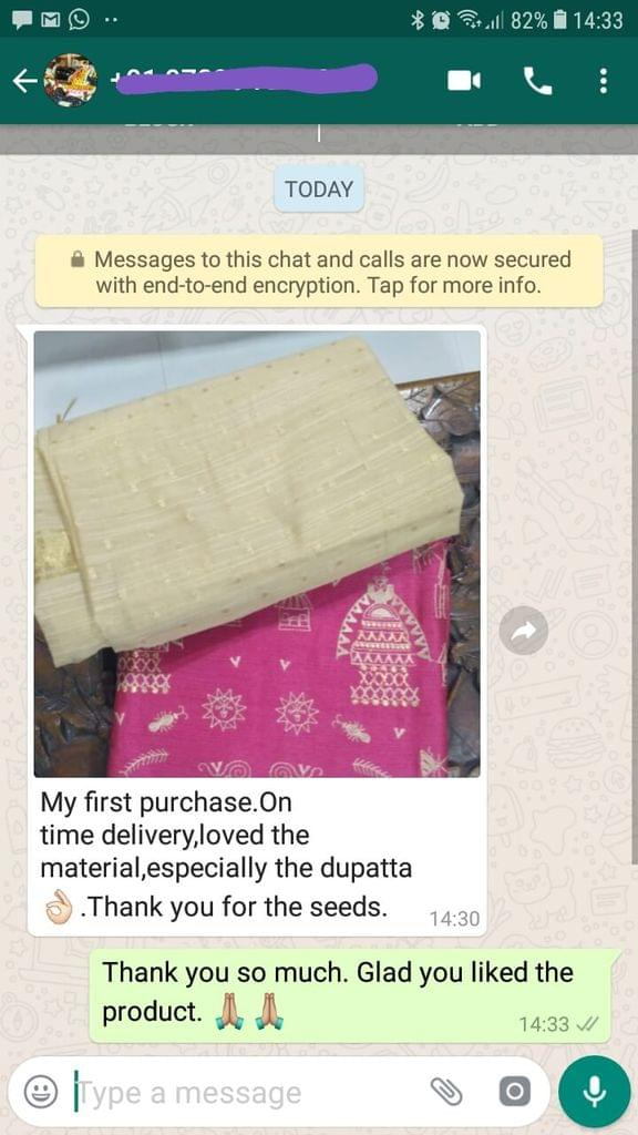 My first purchase... On time delivery... Love the material... Especially the dupatta nice... Thank you for the seeds. -Reviewed on 09-Jul-2019