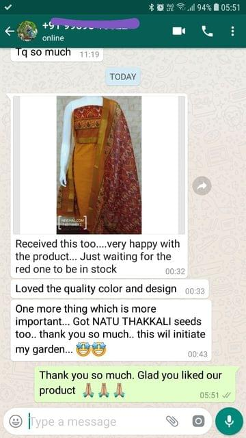 Received this too.... Very happy with the product... Just waiting for the red one to be in stock... Loved the quality color and design... One more thing which is more important... I got tomato seeds too... Thank you so much... This will initiate my garden. -Reviewed on 12-Jul-2019