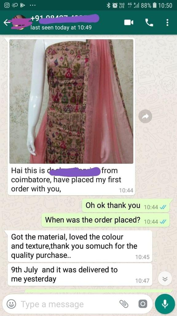 I got the material... Loved the colour and texture... Thank you so much for the quality purchase... 9th July and it was delivered to me yesterday. -Reviewed on 12-Jul-2019