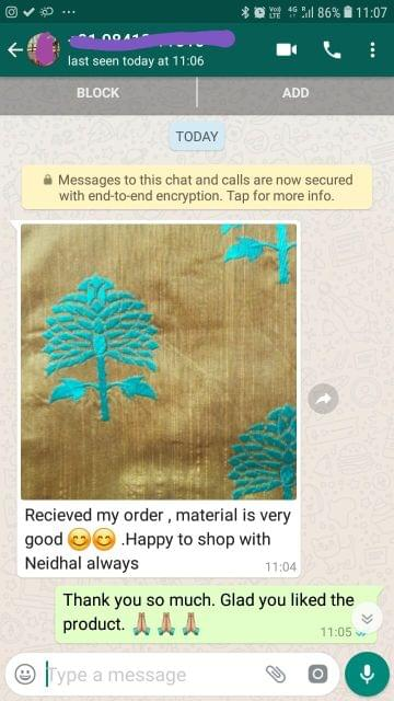 Received my order... Material is very good.... Happy to shop with Neidhal always. -Reviewed on 12-Jul-2019