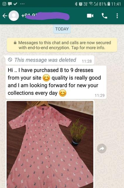 I have purchased 8 to 9 dresses from your site quality is really good... And i am looking forward for new your collection every day. -Reviewed on 12-Jul-2019