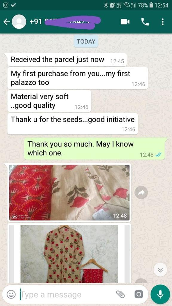 Received the parcel just now... My first purchase from you... My first palazzo too... Material very soft... Good quality... Thank you for the seeds... Good initiative. -Reviewed on 12-Jul-2019