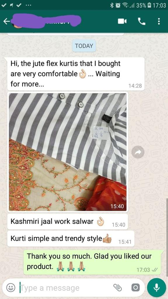 The jute flex Kurtis that i bought are very comfortable... Waiting for more... Kashmiri jaal work salwar nice... Kurti simple and trendy style... Good. -Reviewed on 16-Jul-2019