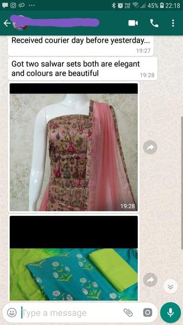 Received courier day before yesterday... Got two salwar sets both are elegant and colours all beautiful. -Reviewed on 16-Jul-2019