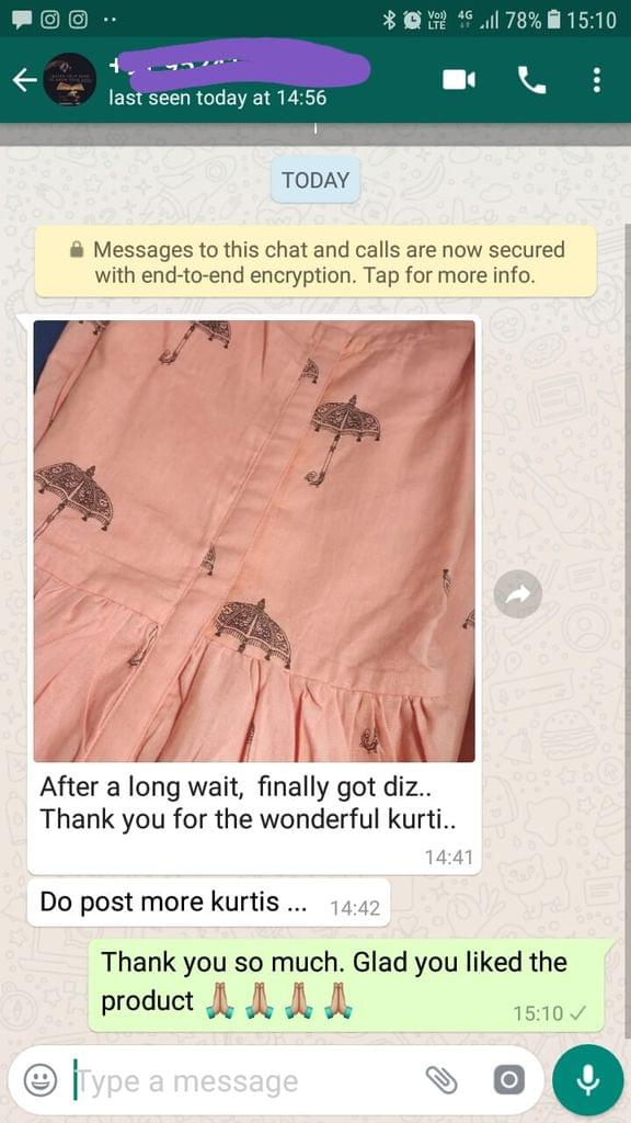 After a long wait, Finally got this thank you for the wonderful kurti... Do post more Kurtis. -Reviewed on 19-Jul-2019
