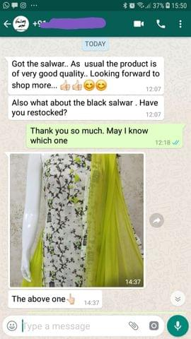 I got the salwar... As usual the product is of very good quality... Looking forward to shop more... And good... Also what about the black salwar... Have you restocked. -Reviewed on 24-Jul-2019