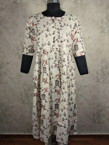 Printed Half White Jute Flex Cotton Kurti (Refer Size chart, 3rd pic before ordering, No Refund, No Return, No exchange, No cancellation), with front placket gathered waistline flared, Round Neck, Height 444,3/4 sleeves with flaps