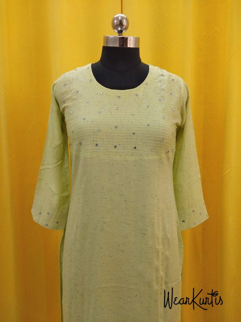 Printed Green Liquid fabric kurti with thread and foil mirror work on yoke(Refer Size chart, 3rd pic before ordering, No Refund, No Return, No exchange, No cancellation),Round Neck, Height 46, 3/4 Sleeves, side slits.