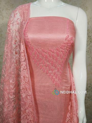 Designer Pink modal(Super Net) Fabric unstitched salwar material(requires lining) with heavy pipe work and Bead work on yoke, Drum dyed Pink Soft silk cotton bottom, Thread work on super net dupatta with lace taping.