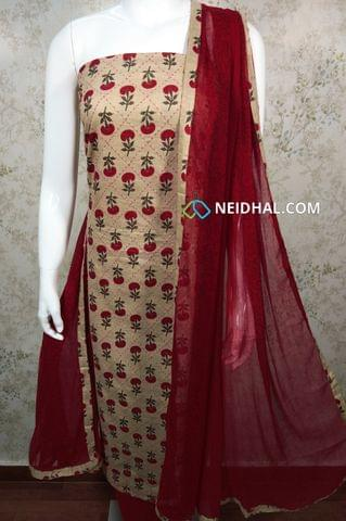 Mughal Printed  Beige Cotton unstitched Salwar material with thread work on front side , plain back side, red cotton bottom, printed chiffon dupatta with tapings.