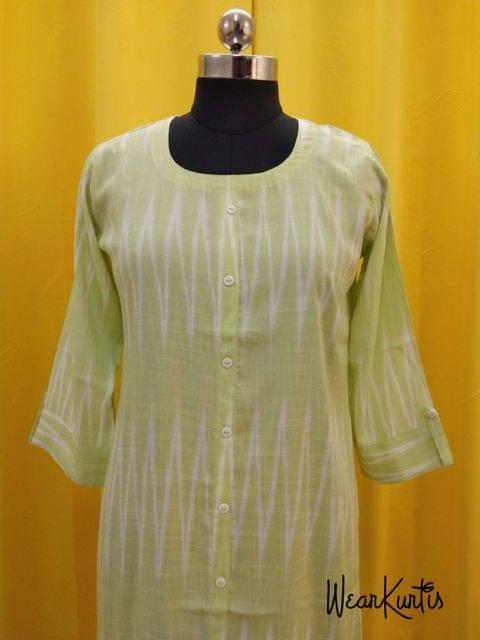 Chevoron printed Light Green liquid fabric kurti with closed front placket (Refer Size chart, 3rd pic before ordering, No Refund, No Return, No exchange, No cancellation), Round neck, Height 42-44, 3/4 Sleeves with flaps front and slide slits.