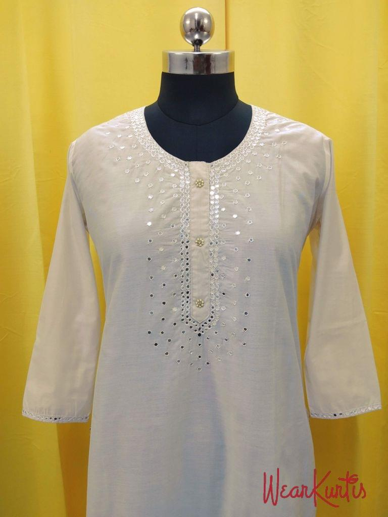 Designer Cream Chanderi (with lining) Kurti with fancy buttons and foil mirror work on yoke(Refer Size chart, 3rd pic before ordering, No Refund, No Return, No exchange, No cancellation), Round Neck, Height 46, 3/4 Sleeves, front and side slit