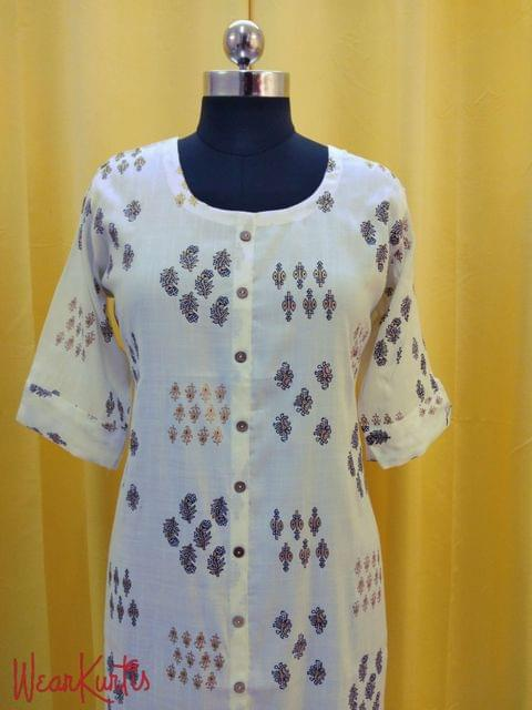 Cream Cotton Kurti with golden prints, front closed placket (Refer 3rd picture for measuring your fitting size, No Refund, No exchange, No cancellation), Round Neck, Height 43, 3/4 Sleeves with flaps,front and side slits.