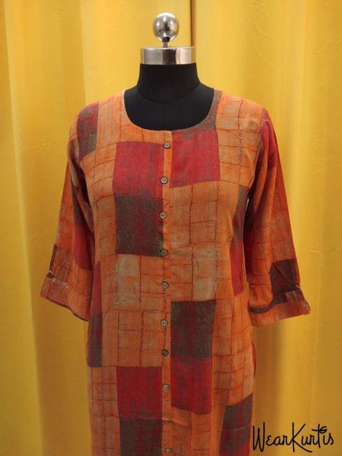 Printed Orange and Red Modal Fabric Kurti with front closed placket (Refer 3rd picture for measuring your fitting size, No Refund, No exchange, No cancellation), Round Neck, Height 43, 3/4 Sleeves with flaps, front and side slits.