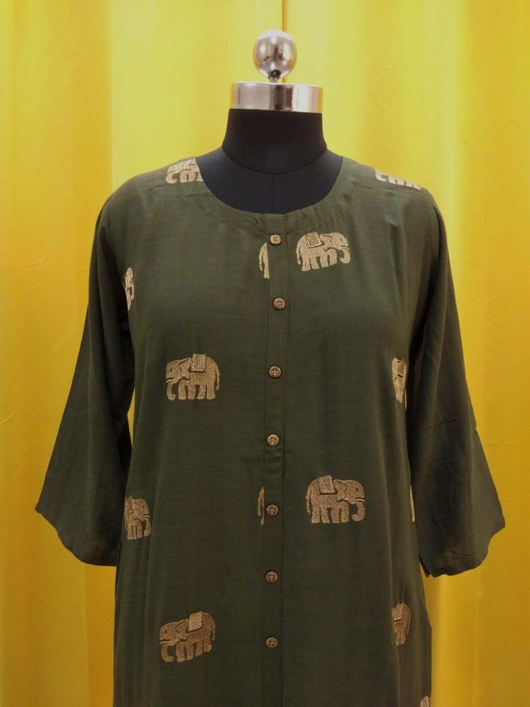 Green liquid fabric kurti with front closed placket, zari thread work on front side, (Refer Size chart, 3rd pic before ordering, No Refund, No Return, No exchange, No cancellation), Round neck, Height 46, 3/4 Sleeves,front and slide slits.