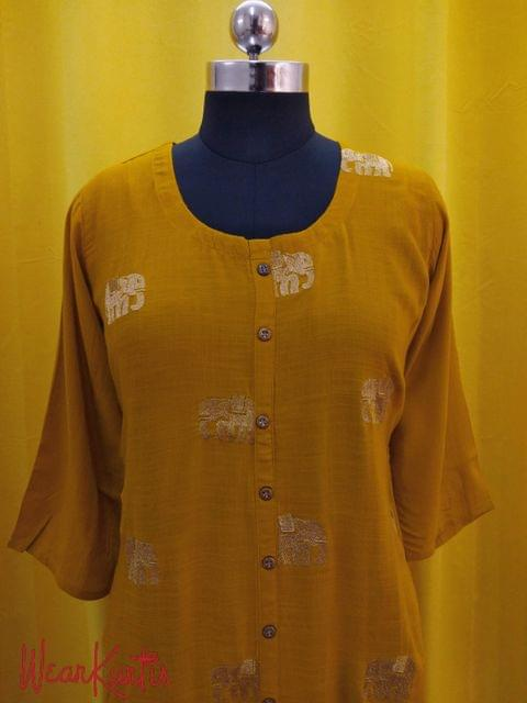 Yellow liquid fabric kurti with closed front placket, zari thread work on front side,(Refer Size chart, 3rd pic before ordering, No Refund, No Return, No exchange, No cancellation), Round neck, Height 46, 3/4 Sleeves,front and slide slits.