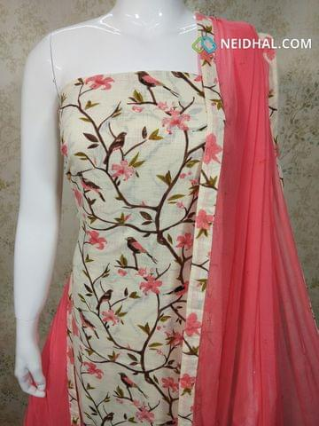 Half White Slub Cotton Unstitched salwar material(requires lining) with golden Prints, pink cotton bottom, pink chiffon dupatta with tappings.