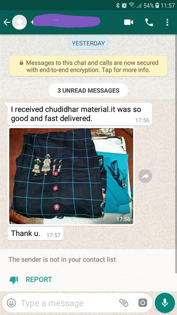 I received chudidhar material... It was so good and fast delivered... Thank you. -Reviewed on 24-July-2019